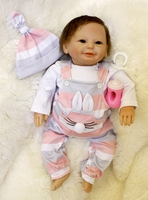 50cm Soft Silicone Reborn Baby Doll Toy Lifelike boy Girl Soft Cloth Body 16 Newborn fake baby bebe gift reborn bonecas