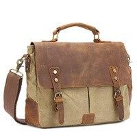 Genuine Leather Handbags canvas top handle Men Bag Business Briefcase Messenger bag Men's Travel Laptop Bag Shoulder Tote Bags
