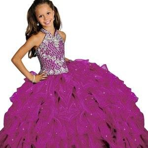 Image 5 - Halter fancy little girls spettacolo del vestito lungo abiti di sfera per i bambini lungo del vestito da promenade vestido menina principessa delle ragazze del vestito 2  12 anni