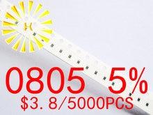 цена на 0805 5% Chip Resistors 0.01-0.091R 0.1-0.91R 0R 1R-10M 1/8W SMD Resistor x 5000PCS