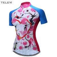 2017 Для женщин велосипед трикотажный топ Велоспорт велосипед Джерси розовый футболка с коротким рукавом Цветы XXS-4XL