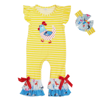 New Fashion Easter Day Baby Boy Clothes Girls Striped Rompers Boys Newborn Chicken Farm Clothes Jumpsuits
