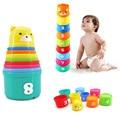 9 unids/set bloques Coloridos Juguetes De Plástico Tazas Clásico Juguete Educación Sensorial Colorida Brillante Pila Taza Rollo Cartas Número CALIENTE
