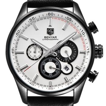 BENYAR New Top Brand Luxury Mens Watches Leather Casual Quartz Watch Men Military Sport Waterproof Clock Watch Relogio Masculino