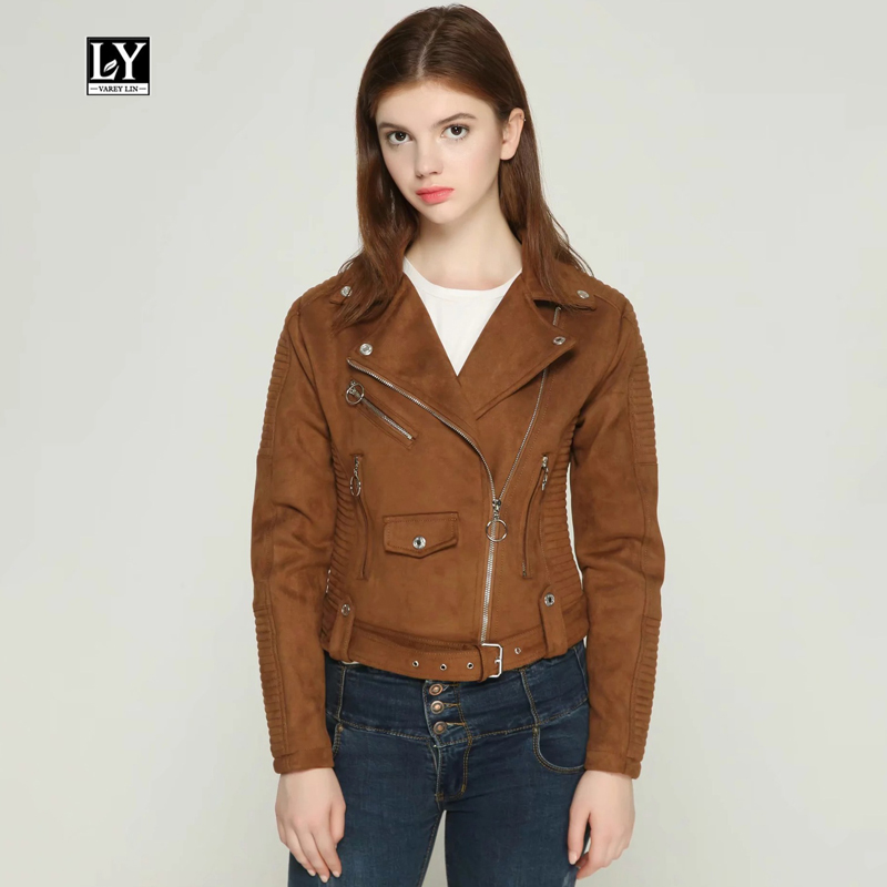 Ly Varey Lin Faux   Suede   Jacket Autumn Winter Women Motorcycle Biker Coats Rivet Zipper   Leather   Jacket Female   Suede   Outerwear New