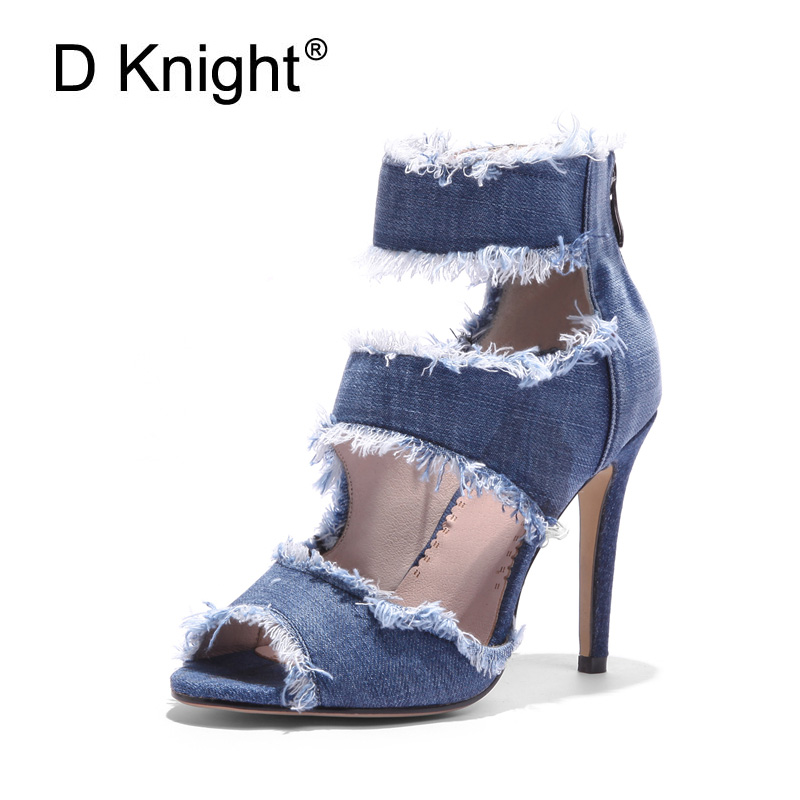 Gladiator Sandals Women 2018 Summer Denim Canvas Shoes Woman Big Size 33-43 Zip High Heel Pumps Office Lady Woman Shoes Blue I92 rousmery 2017 ankle wrap rhinestone high heel sandals woman abnormal jeweled heels gladiator sandals women big size 43