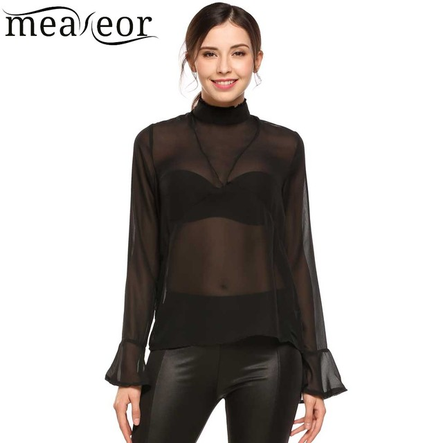 8026b69530b65 Meaneor Casual Stand-Neck Flare Cuff Women Chiffon See Through Blouse Tops  Summer Long Sleeve