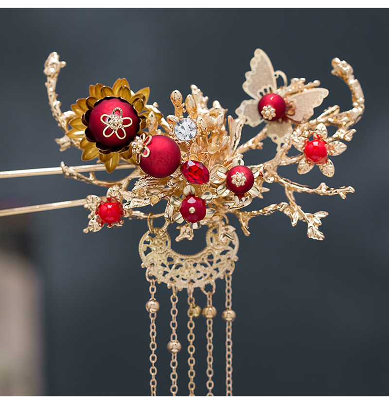 HIMSTORY Retro Chinese Style Traditional Bridal Headdress Hairpin Red Pearls Gold Long Tassel Headband Wedding Accessories in Hair Jewelry from Jewelry Accessories