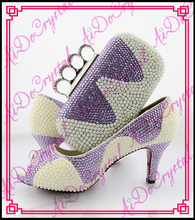 Aidocrystal summer shoes sexy high heels fashion pearl african shoes with finger clutch bag/italian party shoes and bags