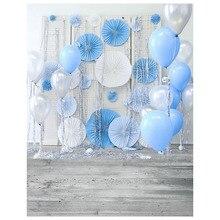Винил печати ткань новорожденных День рождения воздушные шары Цветочные фоны фотостудия фоны Photocall портрет 150*220 см