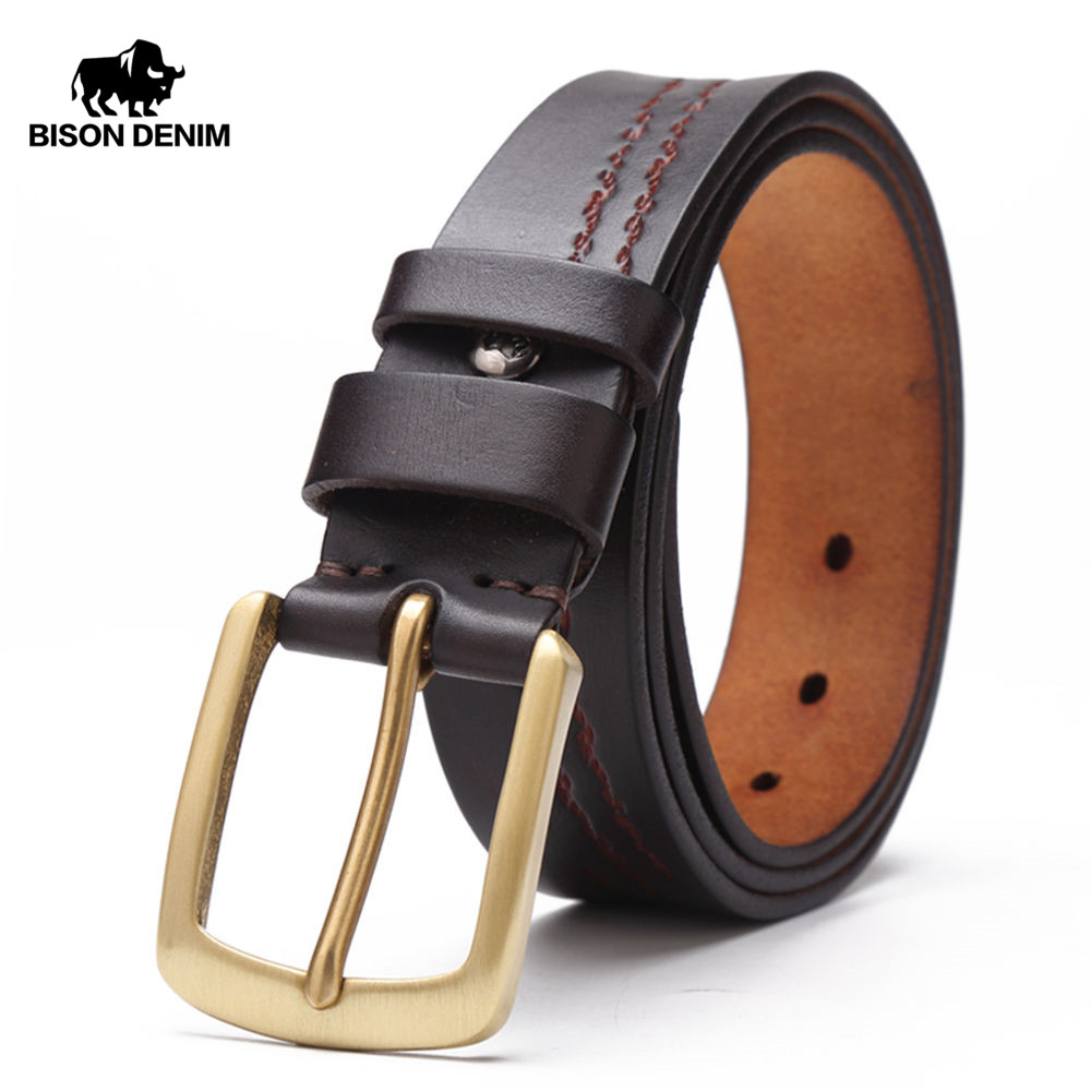BISON DENIM 2017 Top Layer Cow genuine leather belts Vintage Classic Male Pin Buckle men Belt
