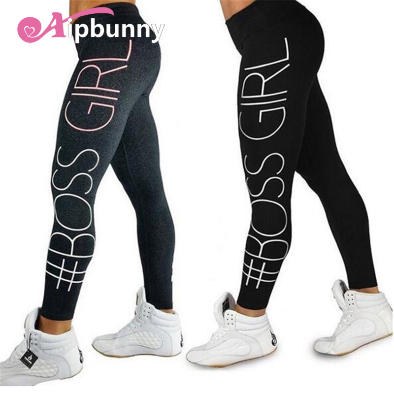Aipbunny 2018 New Printed 'BOSEE GIRL' Slim Leggings Push Up Hips High Waist Ankle-Length Elastic Fitness Pencil Leggins Femme