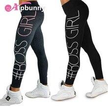 Aipbunny 2018 New Printed 'BOSEE GIRL' Slim Leggings push up hips high waist Ankle-Length Elastic Fitness Pencil leggins femme