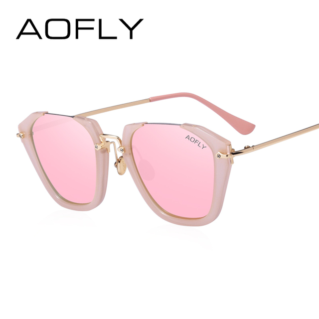 AOFLY 2017 Cat Eye Sunglasses Women Fashion Luxury Original Designer Sun Glasses Reflective Revo Lens Gafas de sol UV400 AF7904