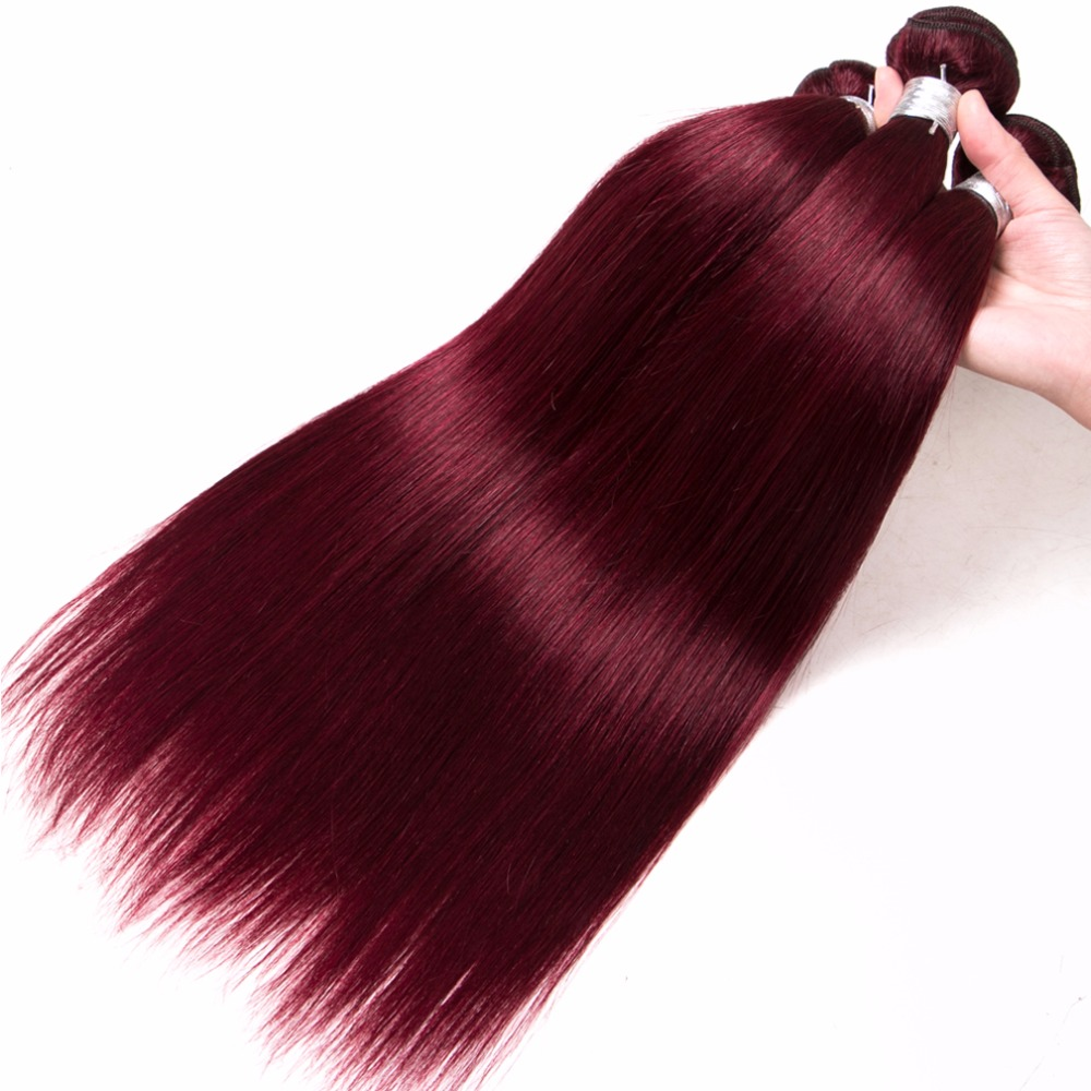 Shireen 100% Remy Hair Weave Bundles 99J/Burgundy# Red Color 8 To 24 Inch Brazilian Straight Hair Weaving Non-Remy 2 Pcs