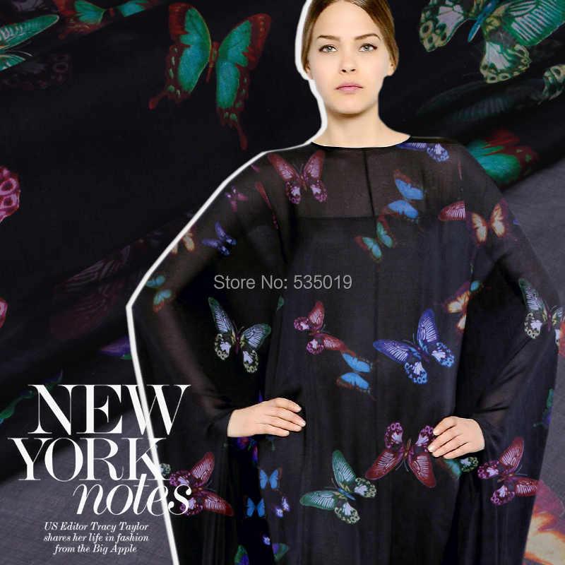 Telas элегантные шелковые старший шелкопряда Бабочка Шелковый ткань ультра-тонкий шифон пряжи одежда юбка летнее платье tissu