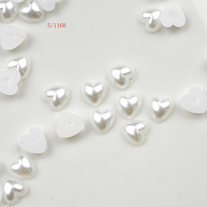 FLTMRH 100pcs 6mm AB Half Heart Shape Simulated Pearl Beads Nail Beauty Decals Manicure Phone Case Glue On Cabochondecoration