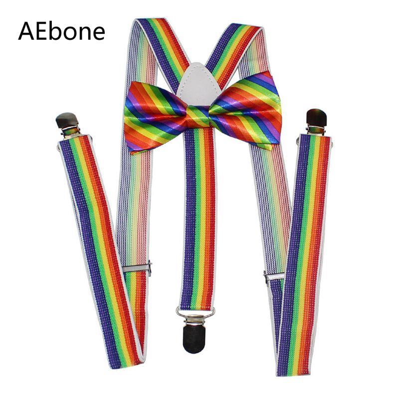AEbone Rainbow Suspenders And Bow Tie For Men Women Striped Bowtie Braces For Trousers 2.5*100cm Bretels Mannen Tirantes Sus65