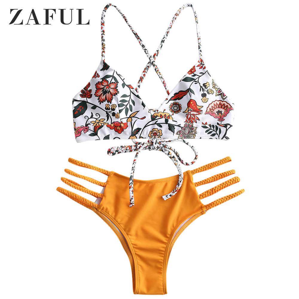 ZAFUL niskiej talii wakacyjny Criss krzyż Bikini zestaw Lace Up biustonosz i majtki Sexy elastyczny drut bezpłatne stroje kąpielowe kwiat pleciony wyściełane