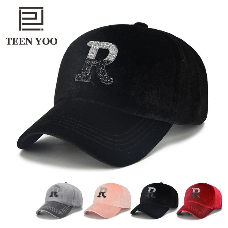 Fashion Baseball Hat Adulto Unisex Velvet R Letter Adhesive Diamond Hats Hip Hop Boys Girls Autumn Winter Casual Snapback Cap