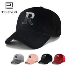 De moda gorra de béisbol Adulto Unisex de terciopelo R carta adhesivo  sombreros diamante Hip Hop 826886542ff