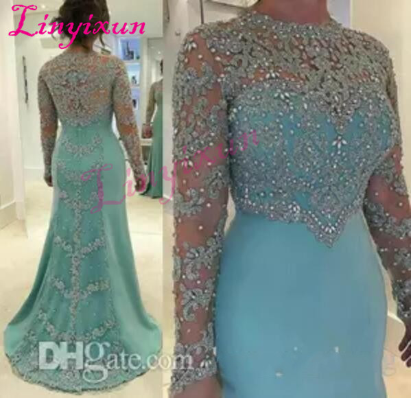 2018 Sheath Prom Evening Dresses With Scoop Neckline Long Sleeves Sweep Train Illusion Beaded Crystal Appliques Vestidos Festa