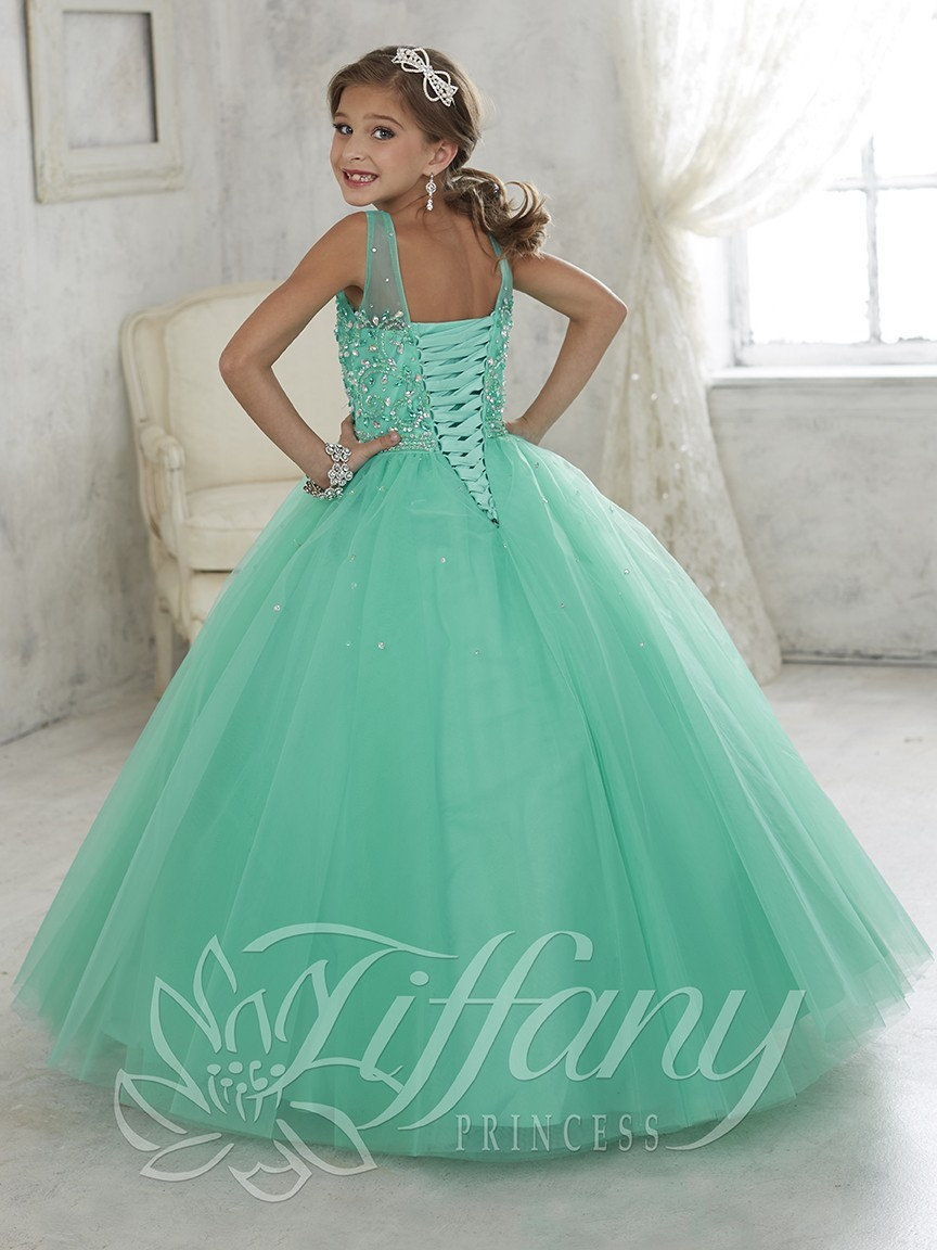 Gowns For Little Girl. Beautiful Appliques Ruched Flower Long Tiered ...