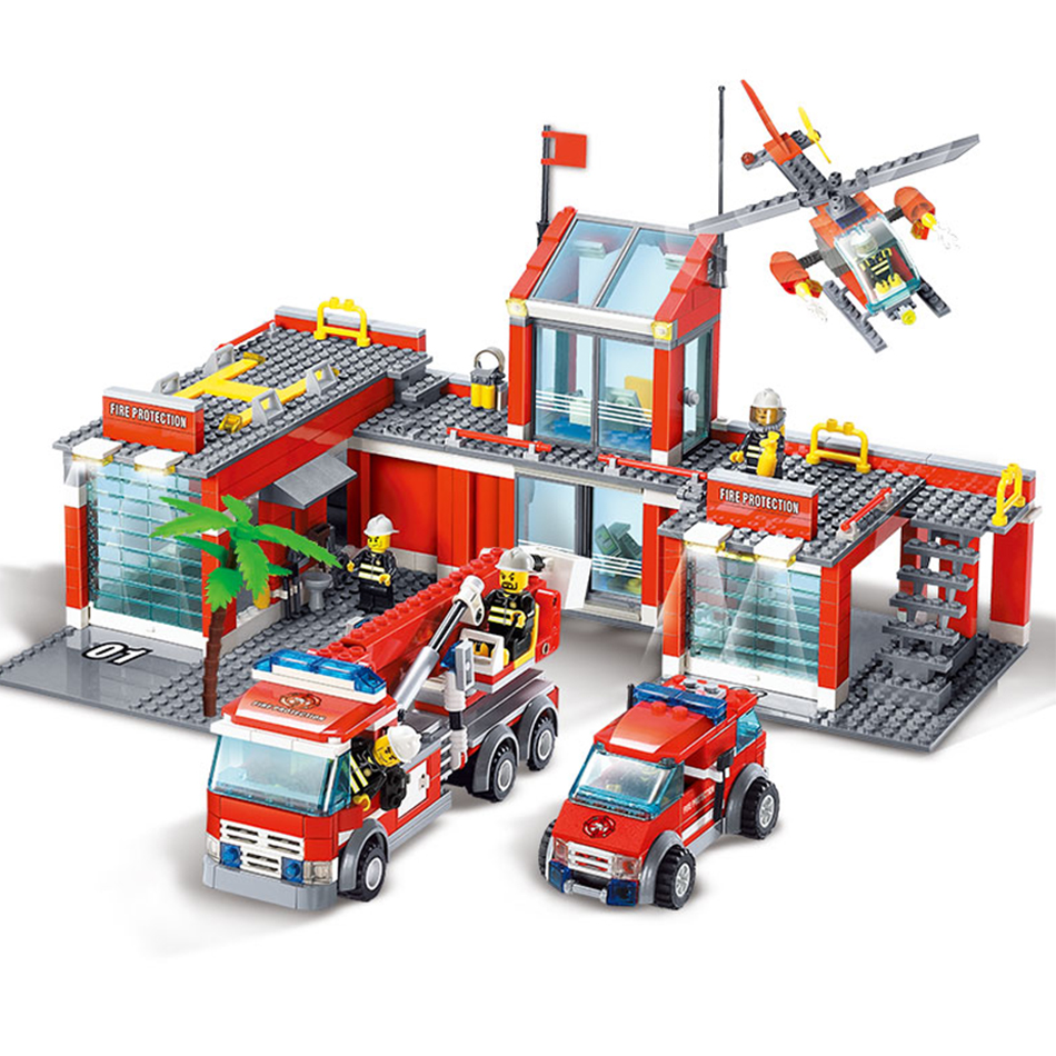 774pcs Fire Station Building Blocks Toys set Compatible legos City Firefighter Figures Bricks Toys Educational Toys For Children new classic kazi 8051 city fire station 774pcs set building blocks educational bricks kids toys gifts city brinquedos xmas toy
