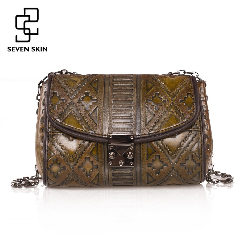 SEVEN SKIN Brand 2017 Vintage Design Women Messenger Bag High Quality Genuine Leather Shoulder Bag Female Luxury Bag with Chain yuanyu 2018 new hot free shipping python leather single shoulder bag imports snake skin messenger bag chain female women bag