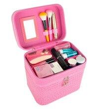 Portable Double Layers Cosmetic Case Travel Large Capacity Makeup Storage Box Alligator Zipper Design Casual Style стоимость