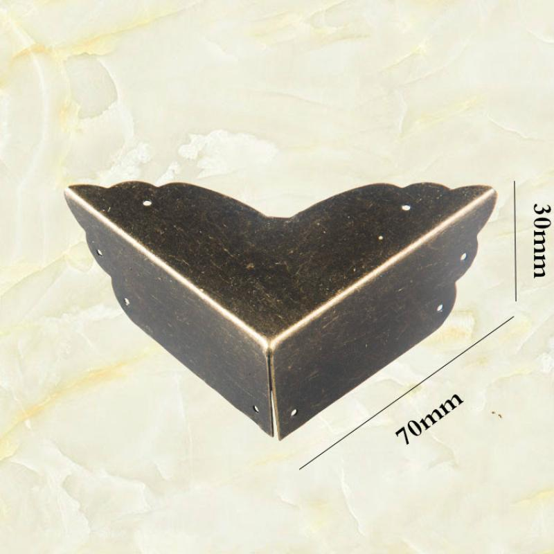 JD 4pcs 70mm Antique Wrap Angle Wooden Box Corner Furniture Corner Protection Angle Iron Wrap Angle
