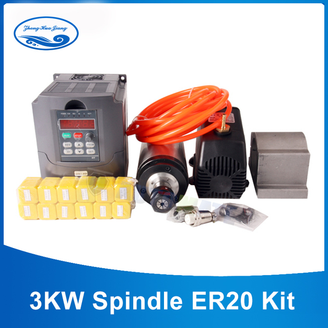 3KW Spindle Kit 3kw water-cooled spindle motor+3KW VFD+100m Spindle Clamp+3.5M water pump+13pcs ER20 +5M pipe with free cable