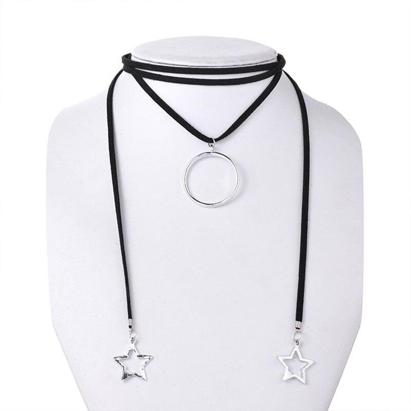 Crystal star кисточкой ожерелье, воротник ожерелье женщины Готические черные кружева Колье Женщины Bijoux Чистый Черный Velve