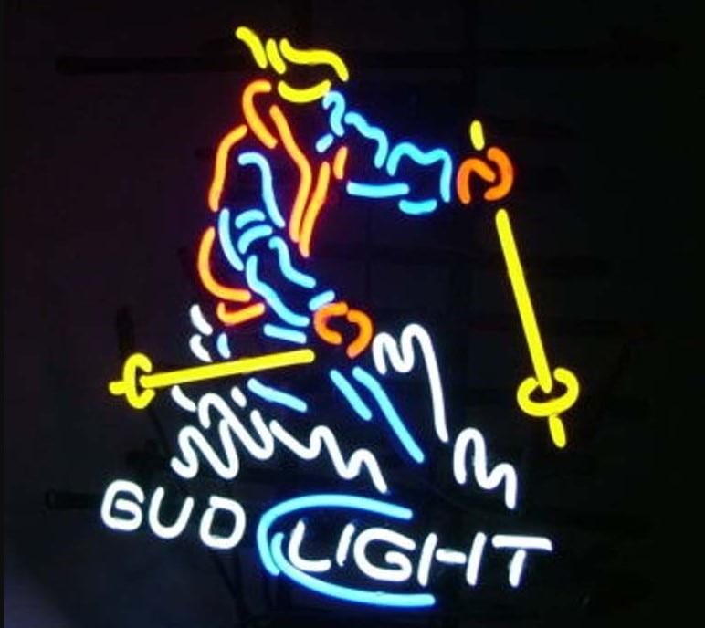 Personalizado Esquiador da Neve Bud Light Beer Bar Sinal da Luz de Néon de Vidro