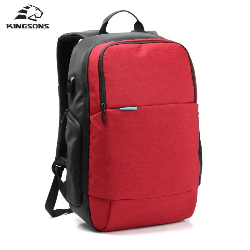 Kingsons Men Women Travel Bag Backpack External USB Charge Laptop Computer backpack 15.6 inch College School Bags for Boys Girls