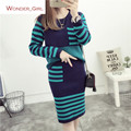 2016 New Arrival Women's Autumn Clothes Knitting Striped Patchwork Pullover Top And Skirt Set Female Casual Suits 5 Colors In