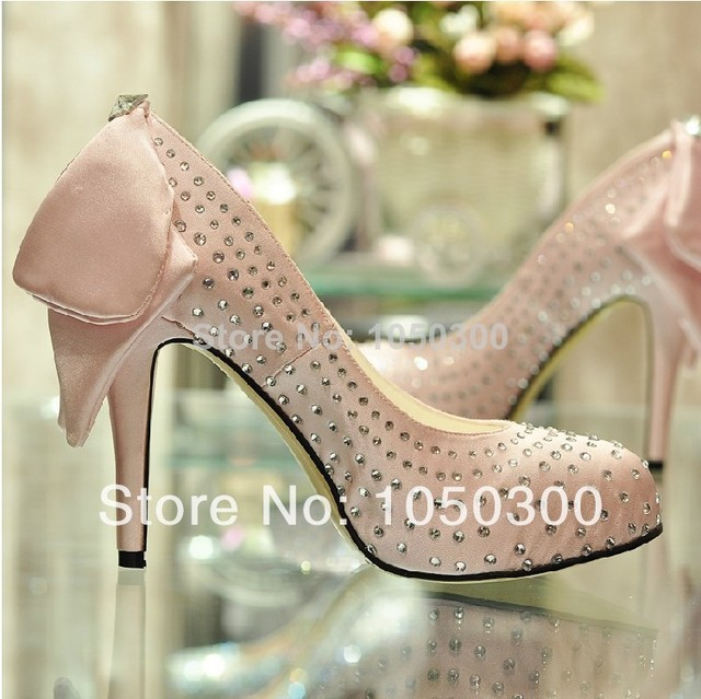 Pink Rhinestone 4inchs Heel Prom bridal shoes Wedding Party High Heel Shoes  New Fashion Round Toe Popular Shoes women 42094bad52fe