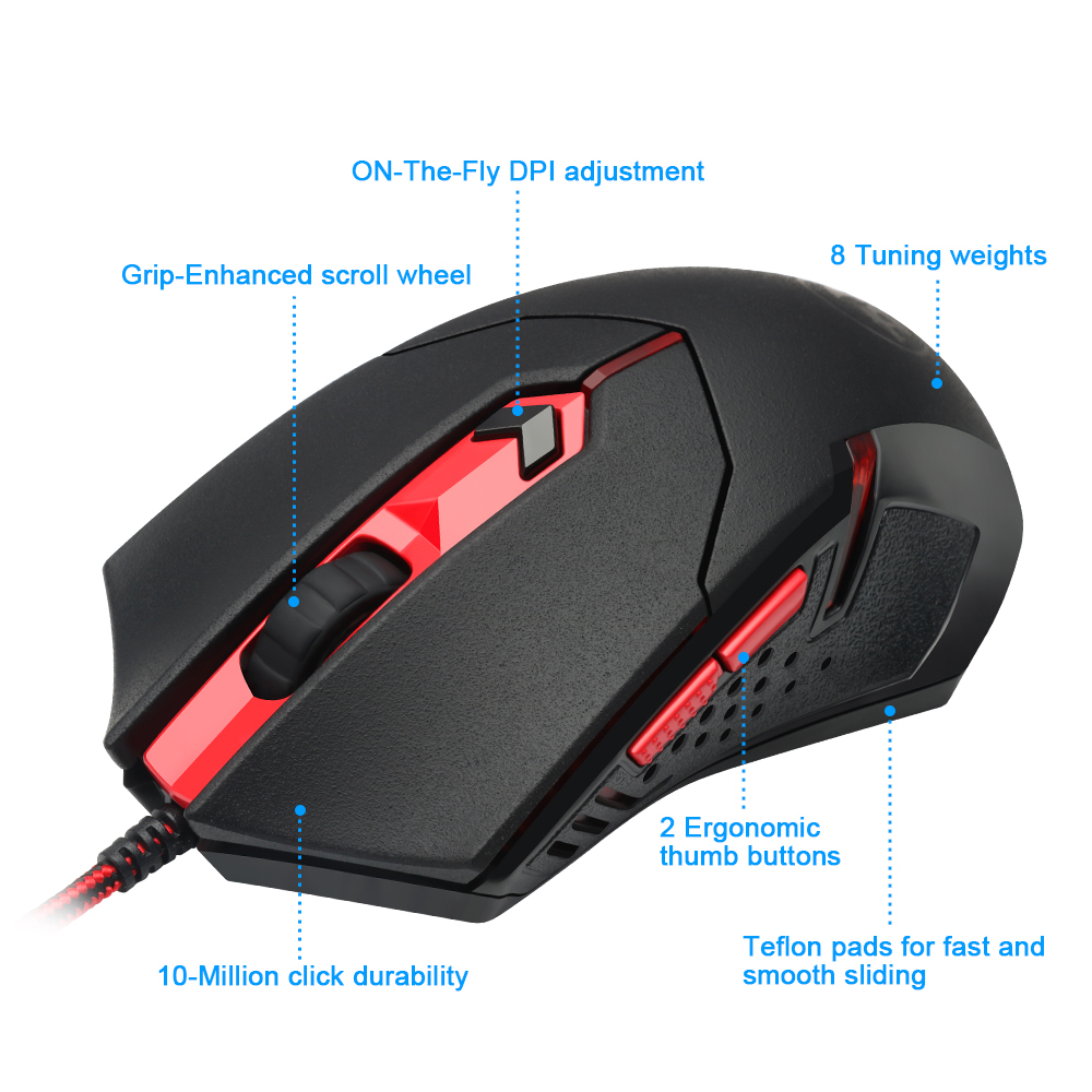 Image 3 - Redragon S101 BA 1 USB Gaming RGB Keyboard mouse pad earphone combos 104 key 3200 DPI 5 buttons Mice Set Wired computer PC game-in Keyboard Mouse Combos from Computer & Office