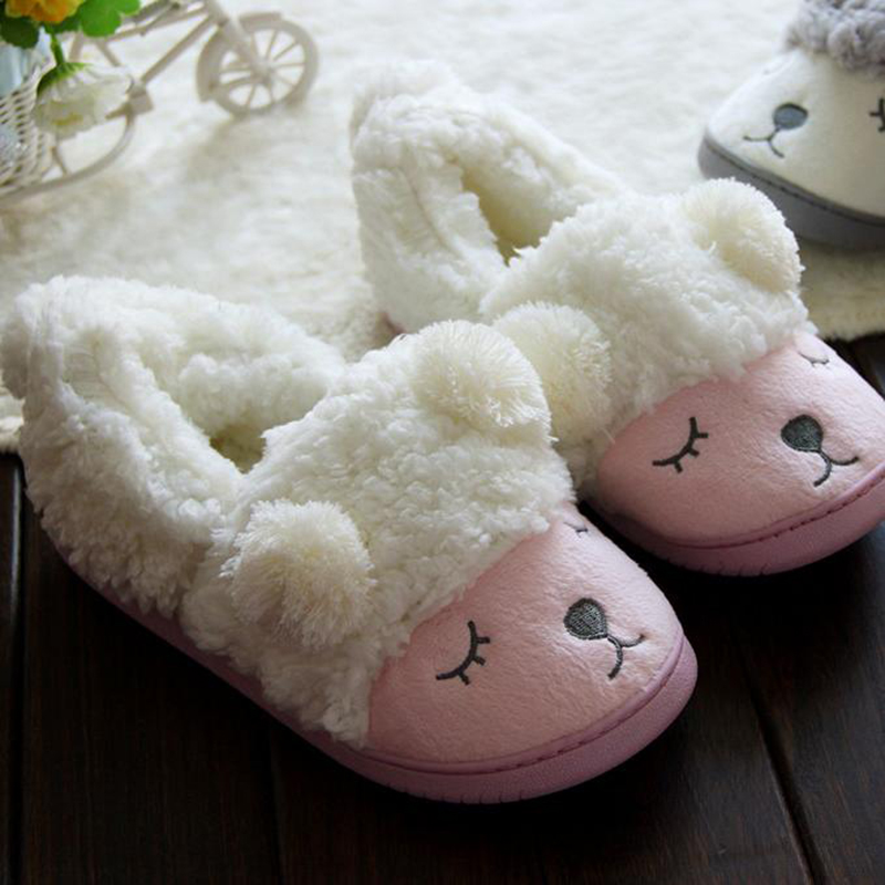 New Pantofole Donna Chinelo Cotton Pink Slippers Women Zapato Mujer Shoes  Sheep Animal Cartoon House Fluffy Ears Sheep Pantuflas-in Slippers from  Shoes on ...