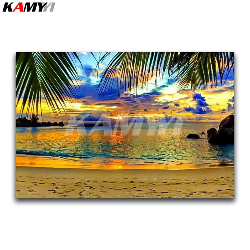 DIY 3D diamante pintura paisaje completo diamante mosaico verano playa full Square diamante bordado Cruz puntada playa