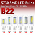 10pcs/lot Factory Price B22 AC 220V/110V LED Corn Bulb Lamp Cool Warm White 7/9/12/15/20/25W 24~72 LEDs Ultra Bright