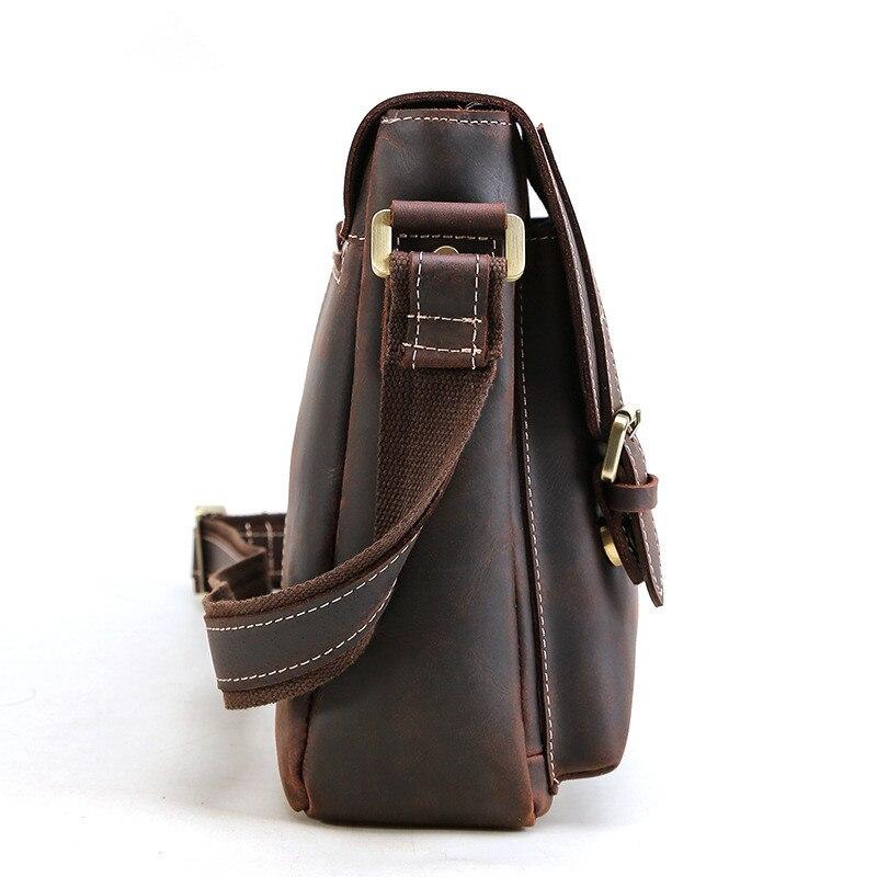 Porządkowania luksusowe rocznika torba męska na ramię torba szalony koń skórzane torby kurierskie Top Handmade torebka ze skóry cielęcej na co dzień torba męska 2112 w Torby z długim paskiem od Bagaże i torby na  Grupa 2