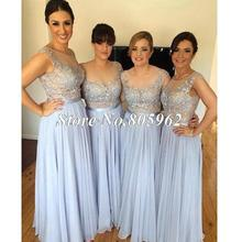 2016 Cheap Bridesmaid Dresses A Line Lace Appliques Scoop Floor length Prom Party Gown Chiffon Party Dresses Gowns B44