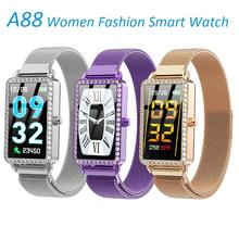 Hot A88 Women Smart Watch Fashion Sport SmartBand Heart Rate Blood Pressure Fitness Tracker Waterproof Bracelet Metal Case