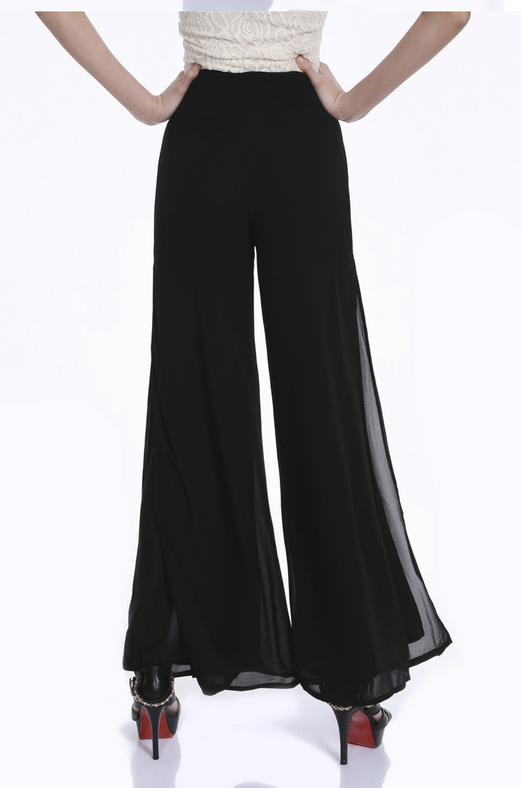 Vintage Loose High Waist Long Chiffon Side Split Casual Pants 8