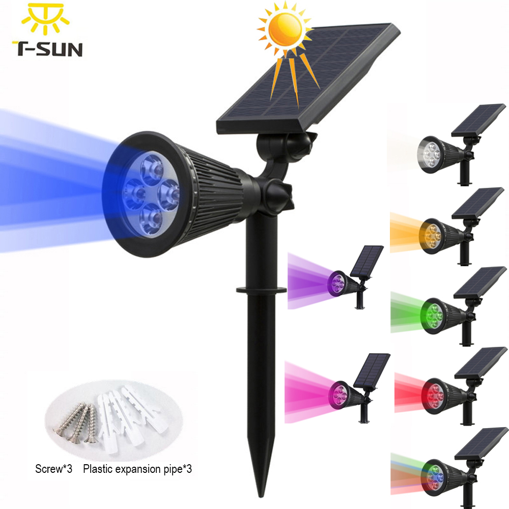 T-SUNRISE Solar Powered 4/7 Lampu LED Spotlight Surya Disesuaikan Di Tanah IP65 Waterproof Landscape Wall Light Pencahayaan Outdoor