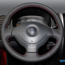Black Leather Hand-stitched Car Steering Wheel Cover for Suzuki Jimny