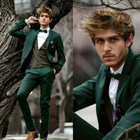 New Dark Green Casual Men Suits 2 Piece Jacket Blazer Pants Notched Lapel Single Breasted Male Suit