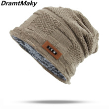 13b170e346495 Brand Logo JEM Men s winter hat fashion knitted black hats Fall Hat Thick  and warm Bonnet