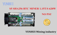 YUNHUI BTC miner Sử Dụng Antminer S5 1150 Gam 28NM BM1384 Bitcoin máy khai thác mỏ ASIC thợ mỏ (không có điện cung cấp)